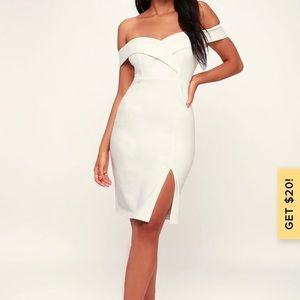Lulus white off the shoulder bodycon dress